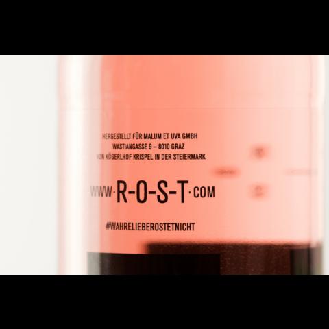 Steirisch-schenken ROST Rose-Wein/Apfel als Werbegeschenk in der 330ml Flasche etikett hinten