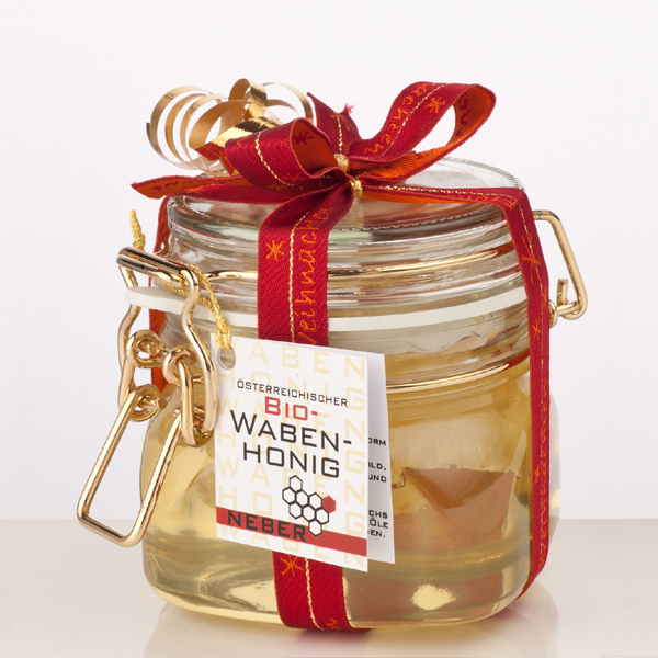 Neber Honig Bio Wabenhonig im Goldbügelglas